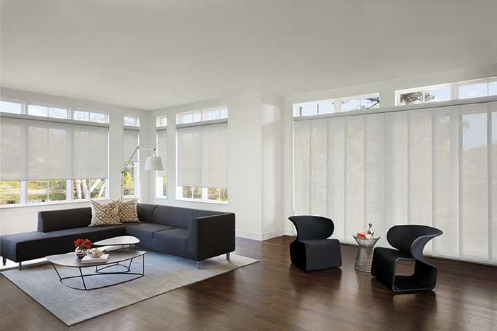 Black and white modern spacious living space