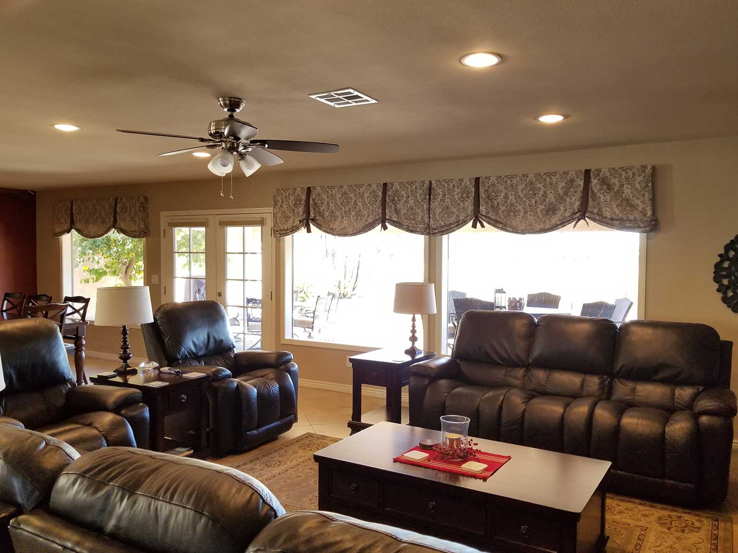 Board mounted Valances over large windows in a living space