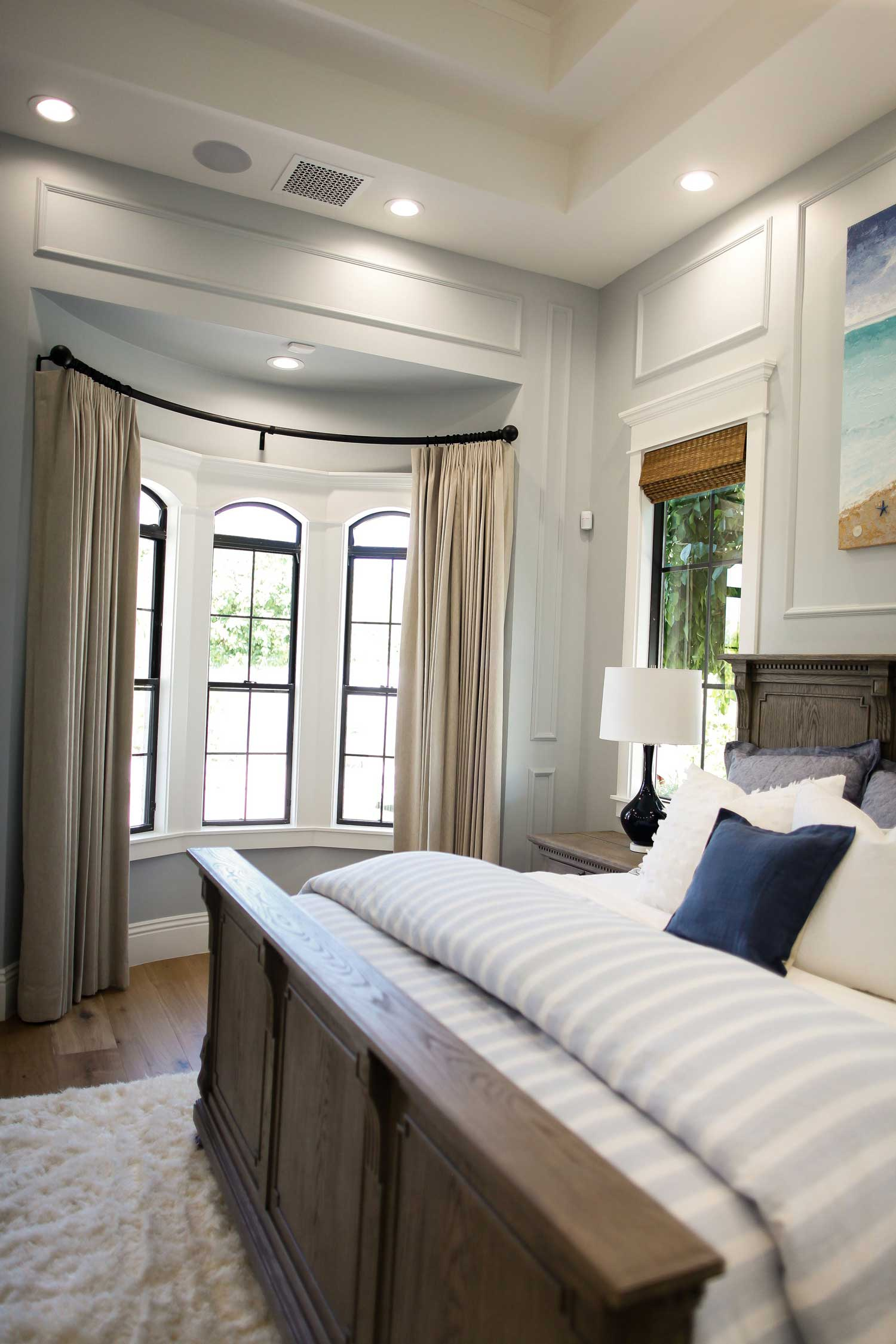 Master Bedroom Drapes on Curved Iron Rod