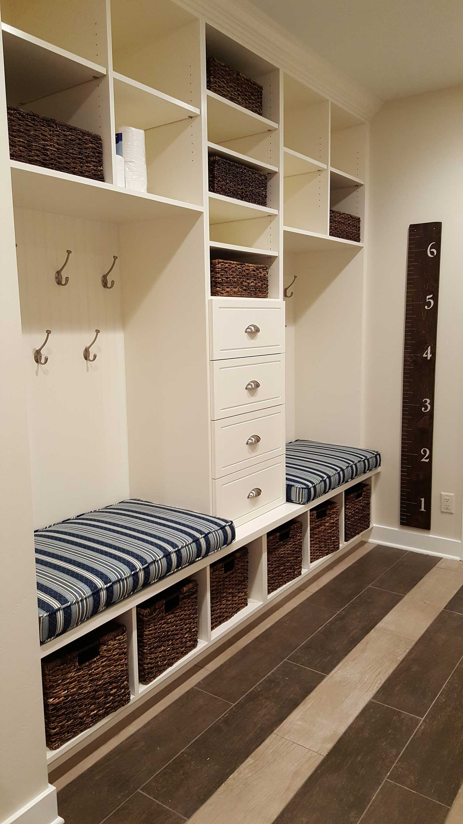 Mud room bench seating