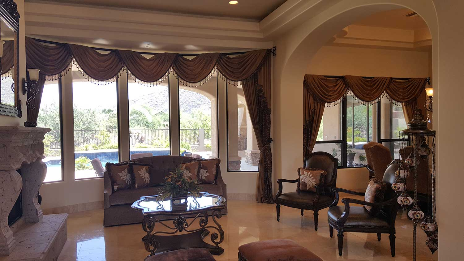 Over the pole Swags for large windows in a living space