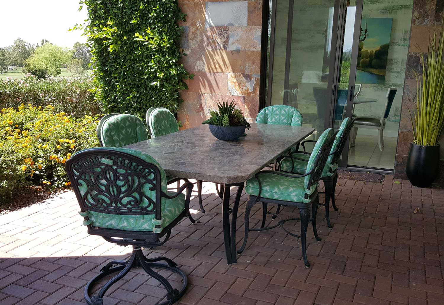 Dining table with six chairs on the patio