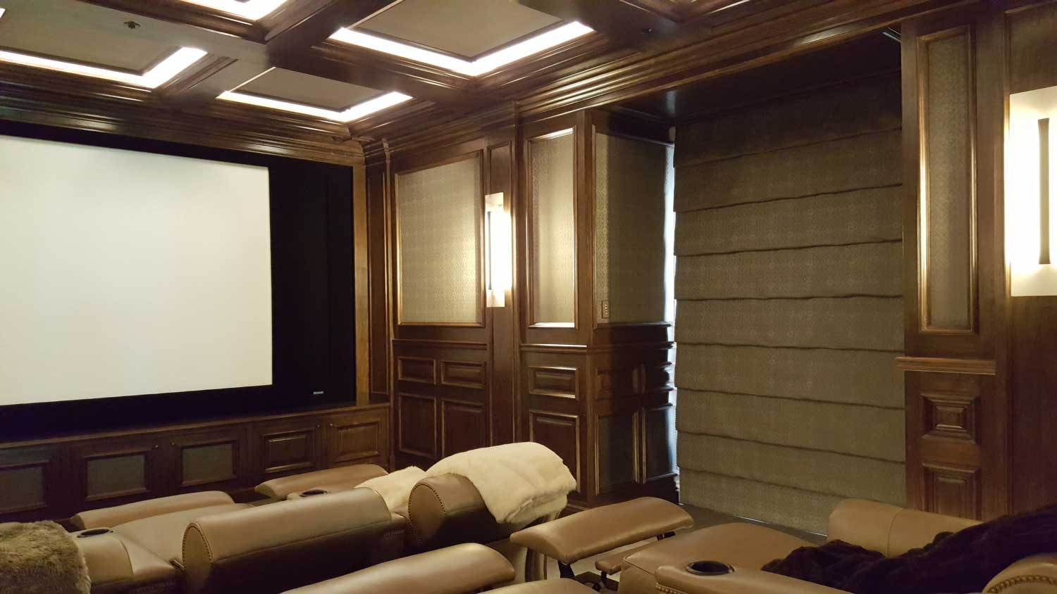 fully furnished home theater room