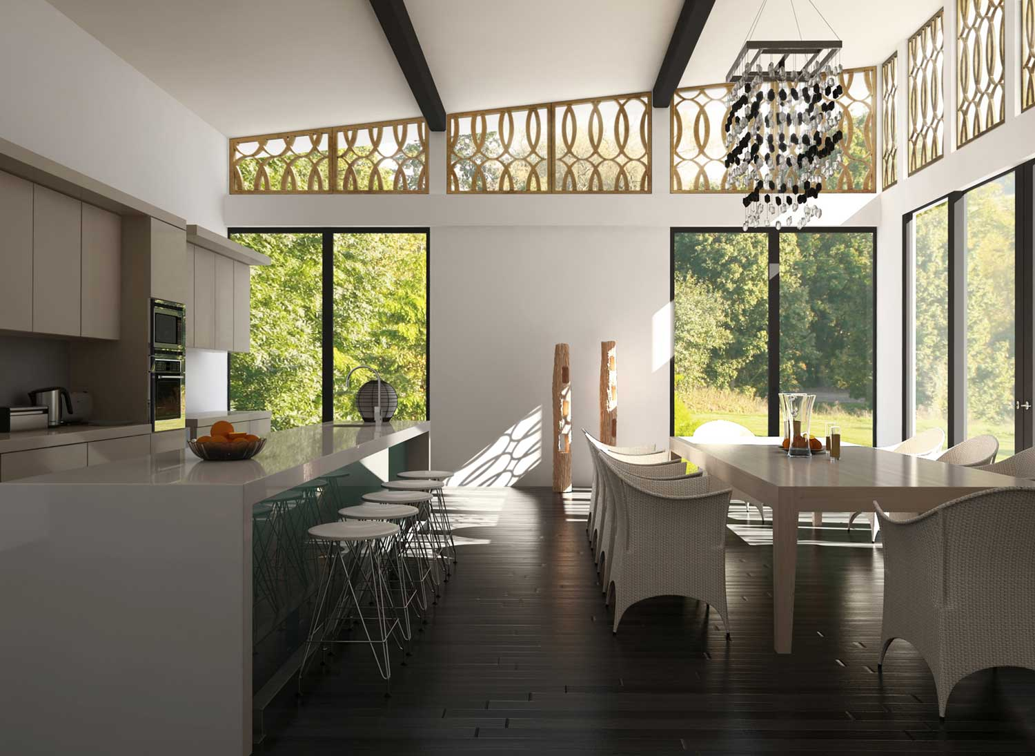 large kitchen and dining space with floor-windows and furniture